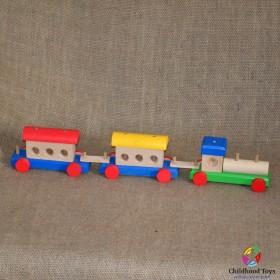 Trenulet lemn colorat 7 piese mari
