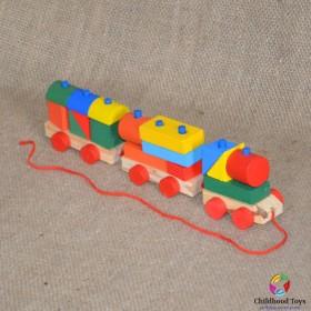 Trenulet lemn colorat 15 forme geometrice