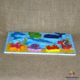 Puzzle lemn cu animale marine M7