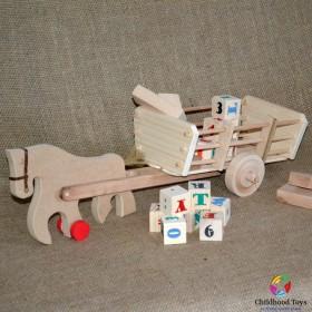 Jucarie lemn, caruta cu cal si cuburi, litere + cifre