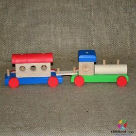 Trenulet lemn colorat 5 piese mari