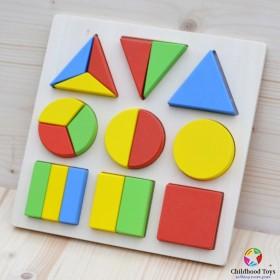 Puzzle lemn 3D cu forme geometrice
