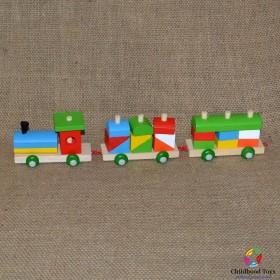 Trenulet lemn colorat 20 piese mici