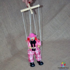 Marioneta lemn Clovn roz