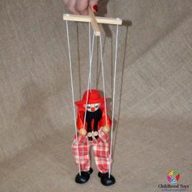 Marioneta lemn Clovn rosu