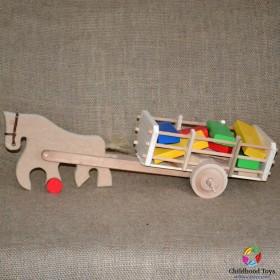 Jucarie lemn, caruta cu cal, lemn natur si cuburi colorate