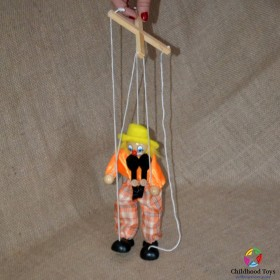 Marioneta lemn Clovn galben