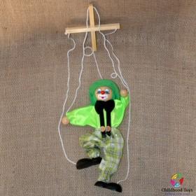 Marioneta lemn Clovn verde