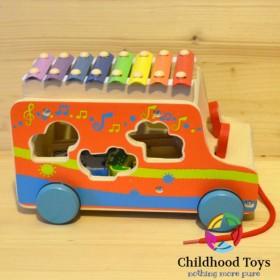 Autobuz de lemn cu forme si xilofon