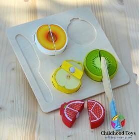 Puzzle incastru lemn cu 4 fructe de feliat