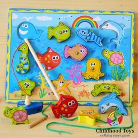 Joc educativ de pescuit snuruit animale marine