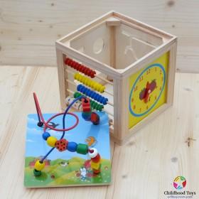 Cub lemn cu abac, forme, ceas si labirint M1
