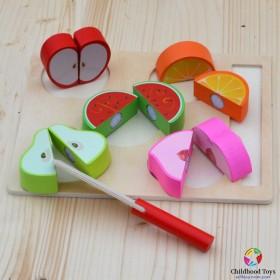 Puzzle incastru lemn cu 5 fructe de feliat