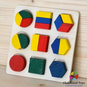 Puzzle lemn 3D cu forme geometrice m1