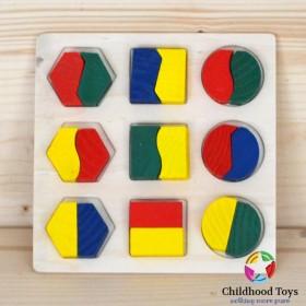 Puzzle lemn 3D cu forme geometrice m2