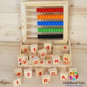 Numaratoare lemn cu cuburi, litere, cifre