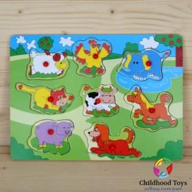 Puzzle incastru lemn animale domestice