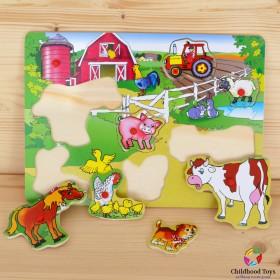 Puzzle incastru lemn ferma animalelor N3