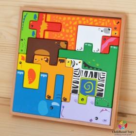 Puzzle lemn 3D cu animale