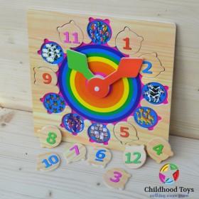 Ceas puzzle din lemn