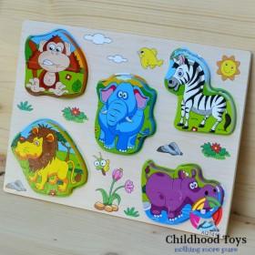 Puzzle din lemn 3D cu animalele junglei