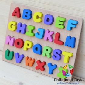 Puzzle incastru din lemn cu literele Alfabetului 3D