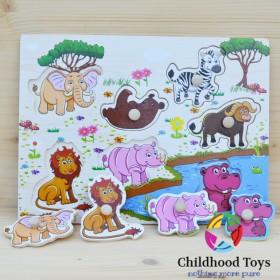 Puzzle incastru din lemn cu animale din jungla