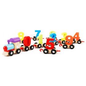 Trenulet lemn cu cifre 3